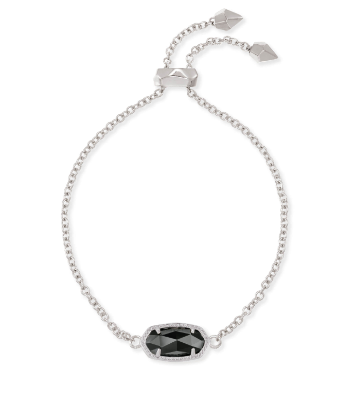 Elaina Silver Adjustable Chain Bracelet In black pearl