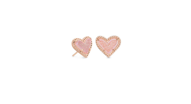 Ari Heart Rose Gold Stud Earrings in Pink Drusy
