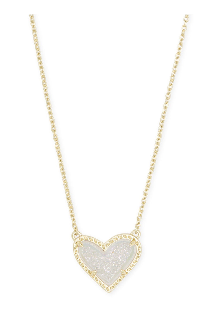 Ari Heart Gold Pendant Necklace Iridescent Necklace