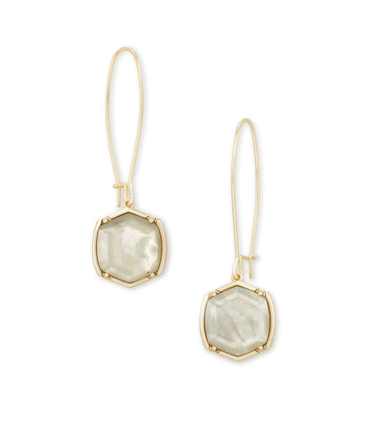 Davis Gold Drop Earrings Gray Illusion