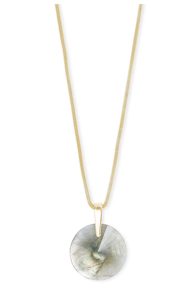 Jodie Gold Long Pendant Necklace in Gray Illusion
