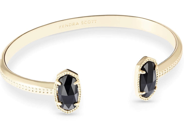 Elton Gold Cuff Bracelet in Black Opaque Glass