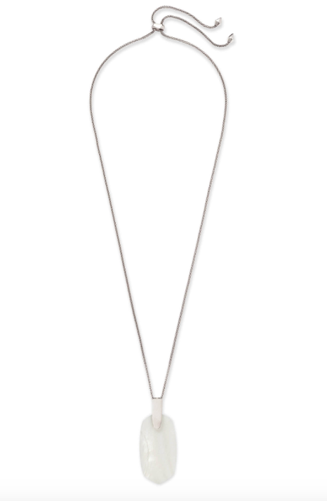 Inez Silver Long Pendant Necklace In White Pearl