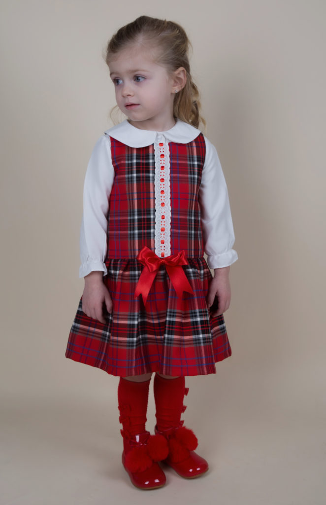 Caramelo Kids Tartan Blouse and Dress Set