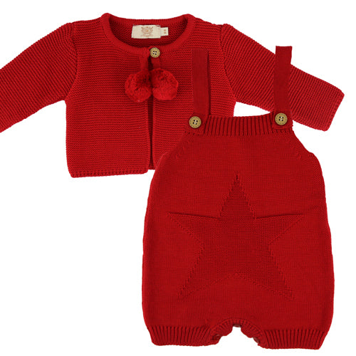 Caramelo Kids Red Pom Pom Star and Cardigan Set