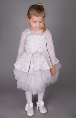 Caramelo Kids Grey Tutu Lace Dress