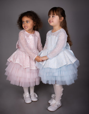 Caramelo Kids Sky Blue Tutu Lace Dress