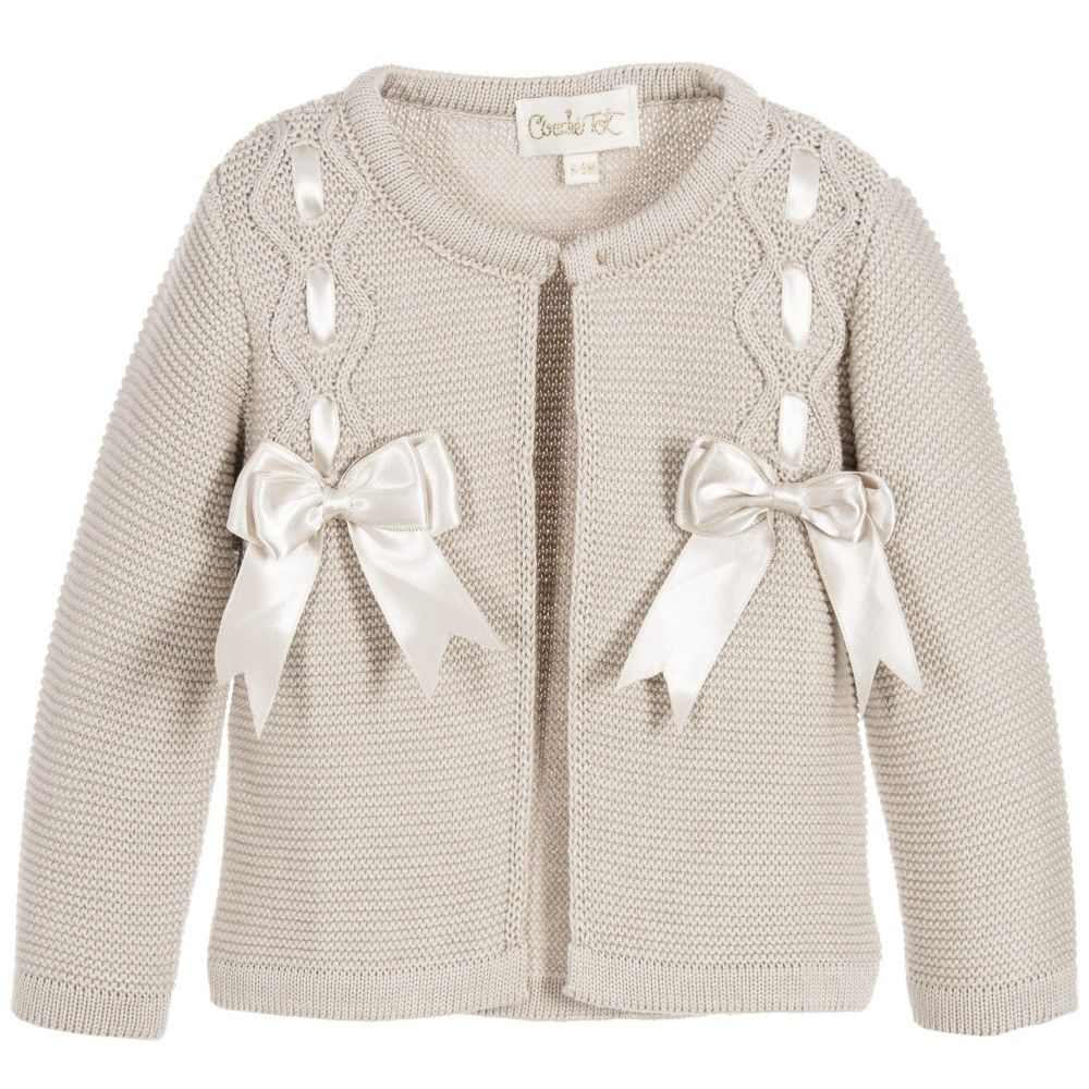 Camel Couche Tot Bow Cardigan