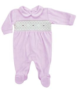 Rapife AW20 Pink Smocked Velour Romper