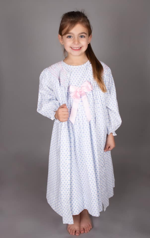 Caramelo Kids Blue Polka Dot Night Gown Set