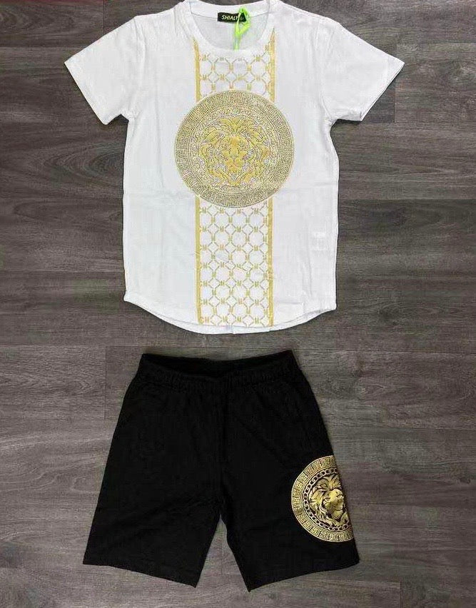 Lion Motif Short Set White