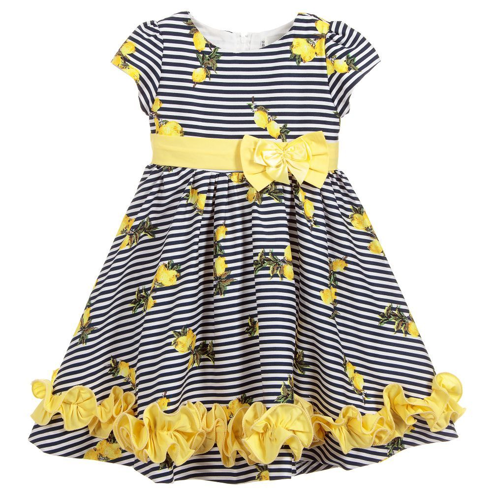 Beau Kid Navy and Lemon Stripe Dress