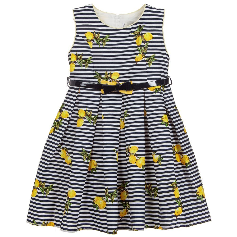 Beau Kid Lemon and Navy Swing Dress