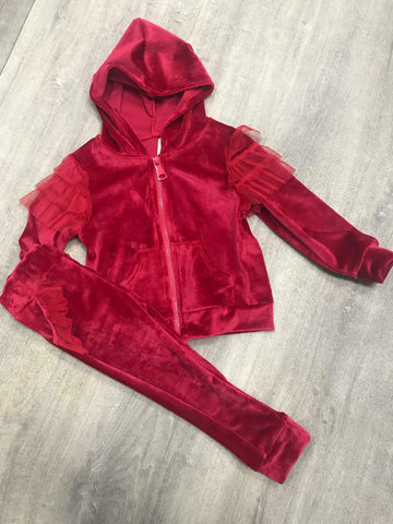 Red Velour Tracksuit