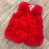 Faux Fur Gilet Red