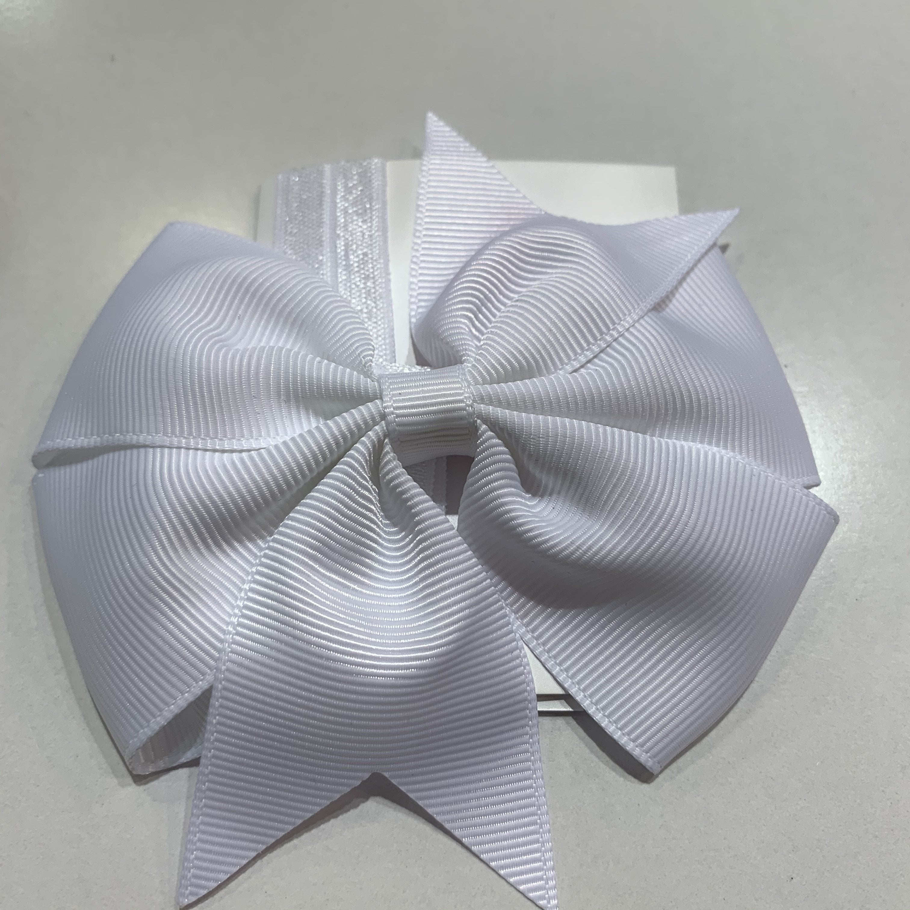 Pinwheel Bow / Headband Duo White