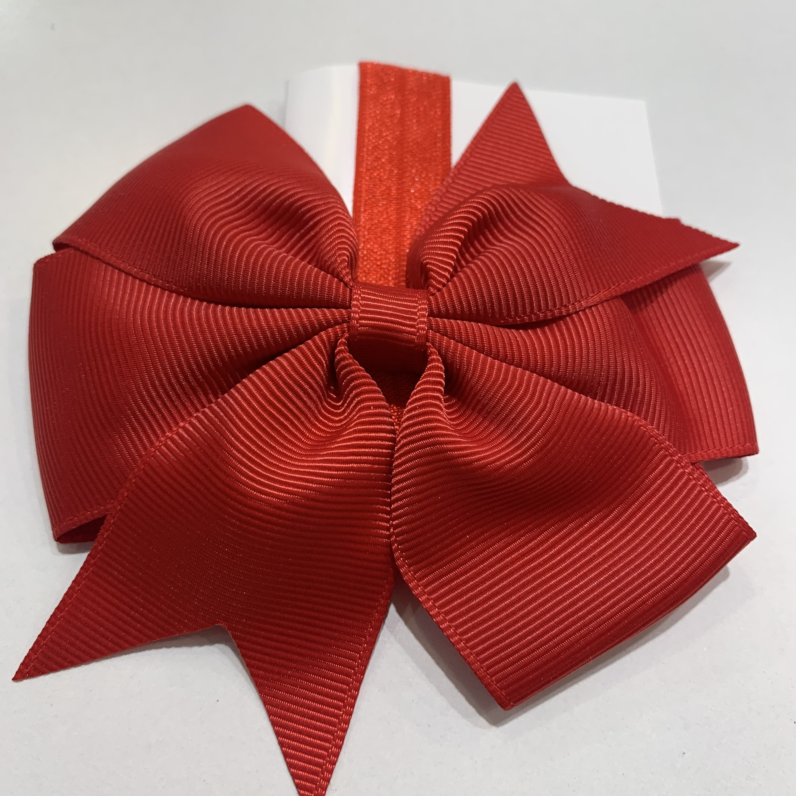 Pinwheel Bow / Headband Duo Red