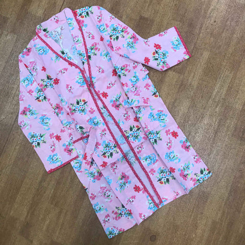 Powell Craft Floral Dressing Gown Pink