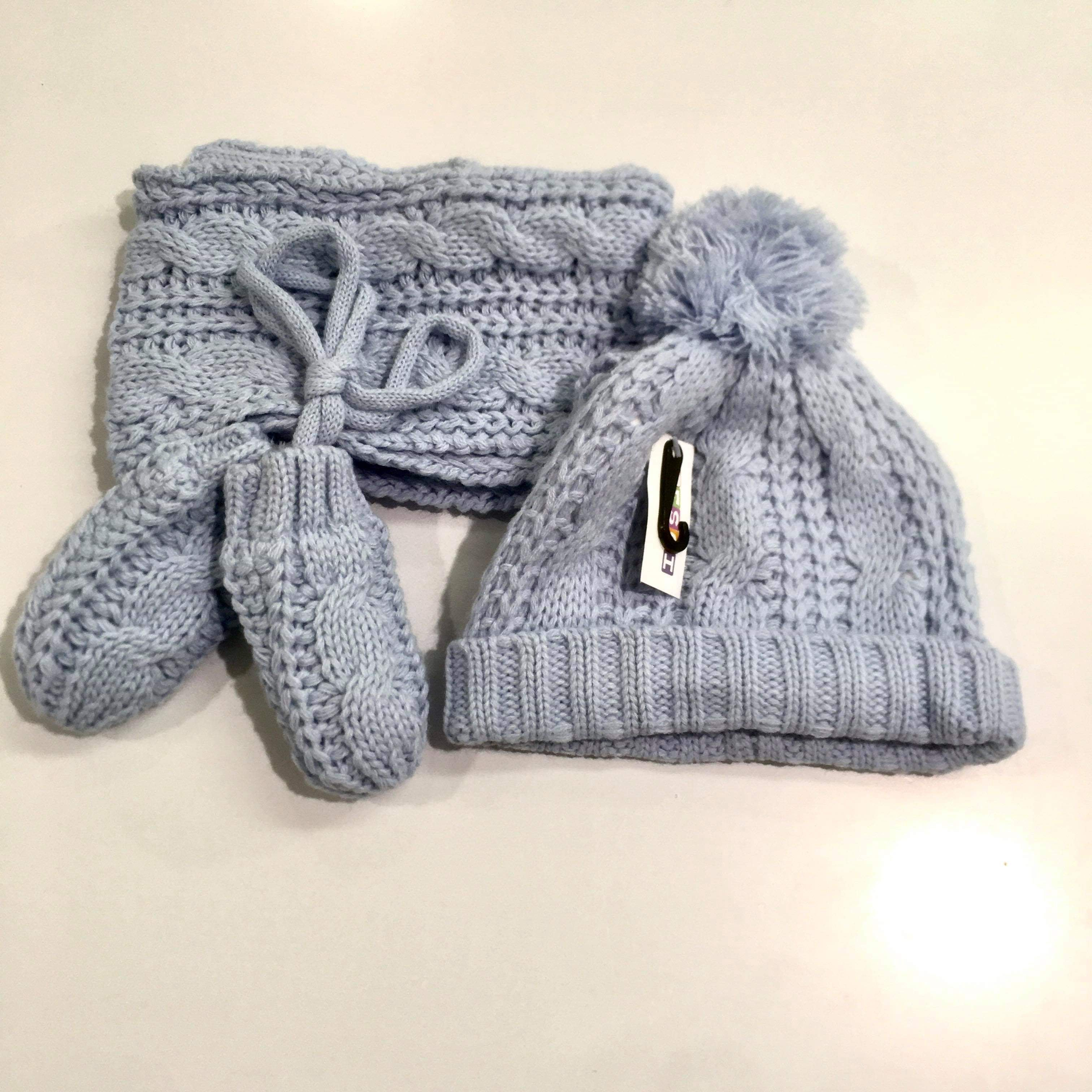 Winter Blue Hat Mittens and Scarf Set