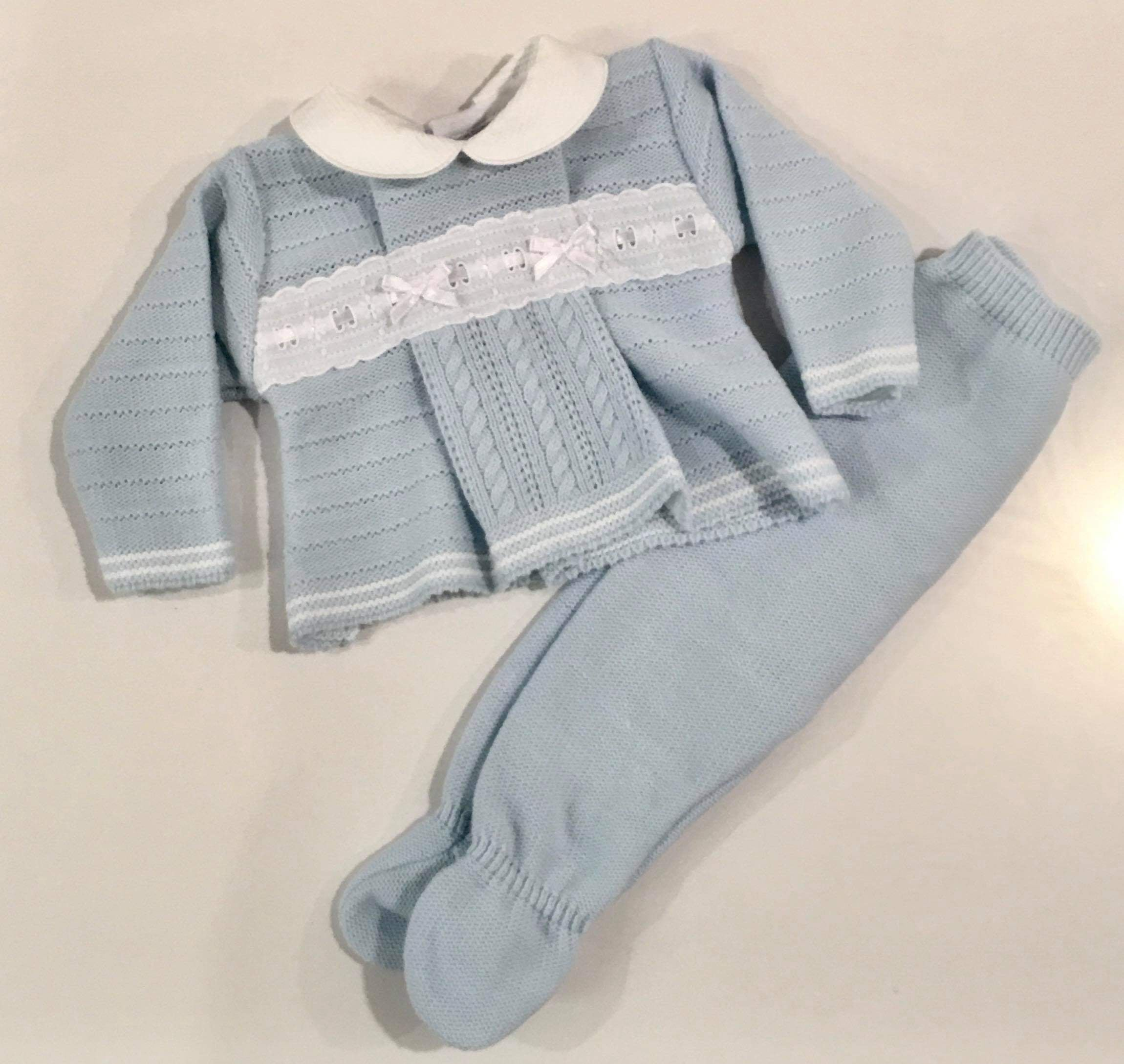 Charlie Knitted Pramsuit Set Sky Blue