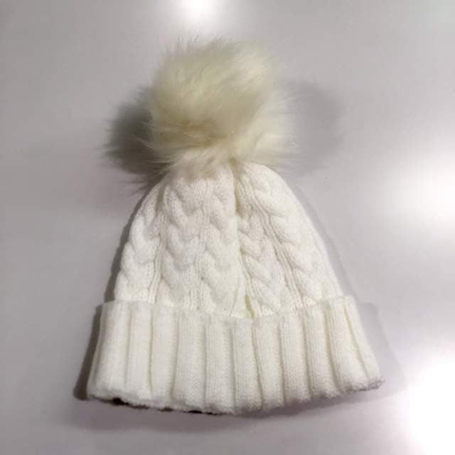 White Single Pom Pom Hat