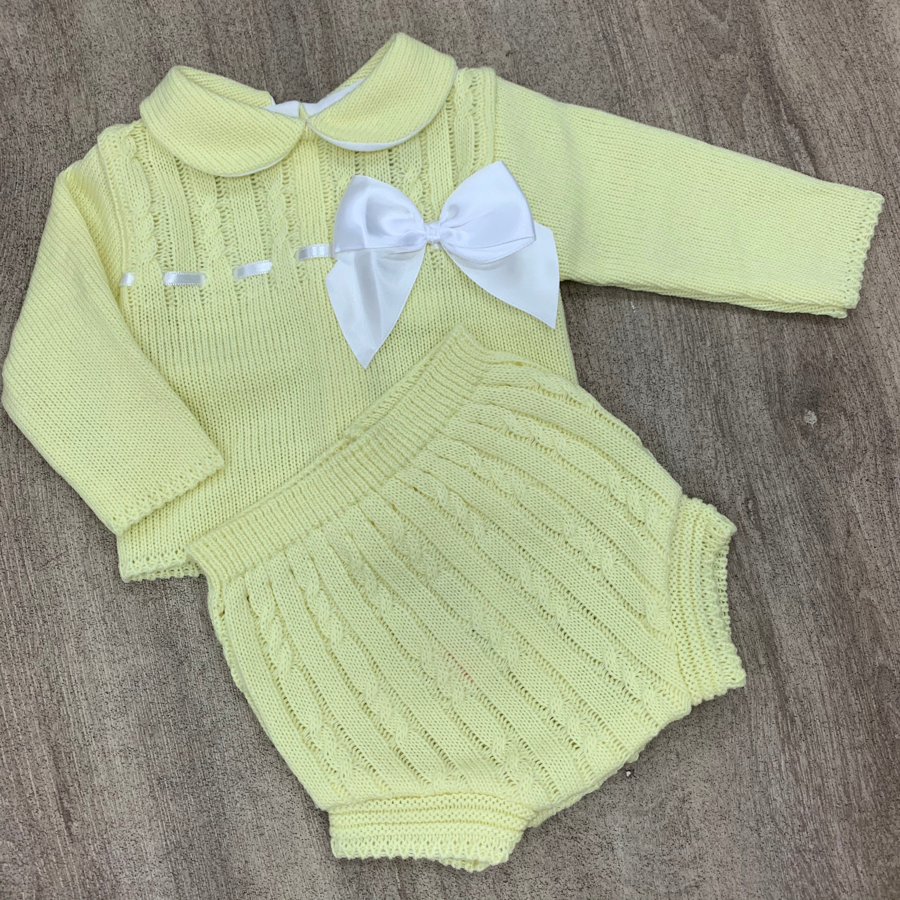 Amelia 2 Piece Knitted Bow Set - Lemon
