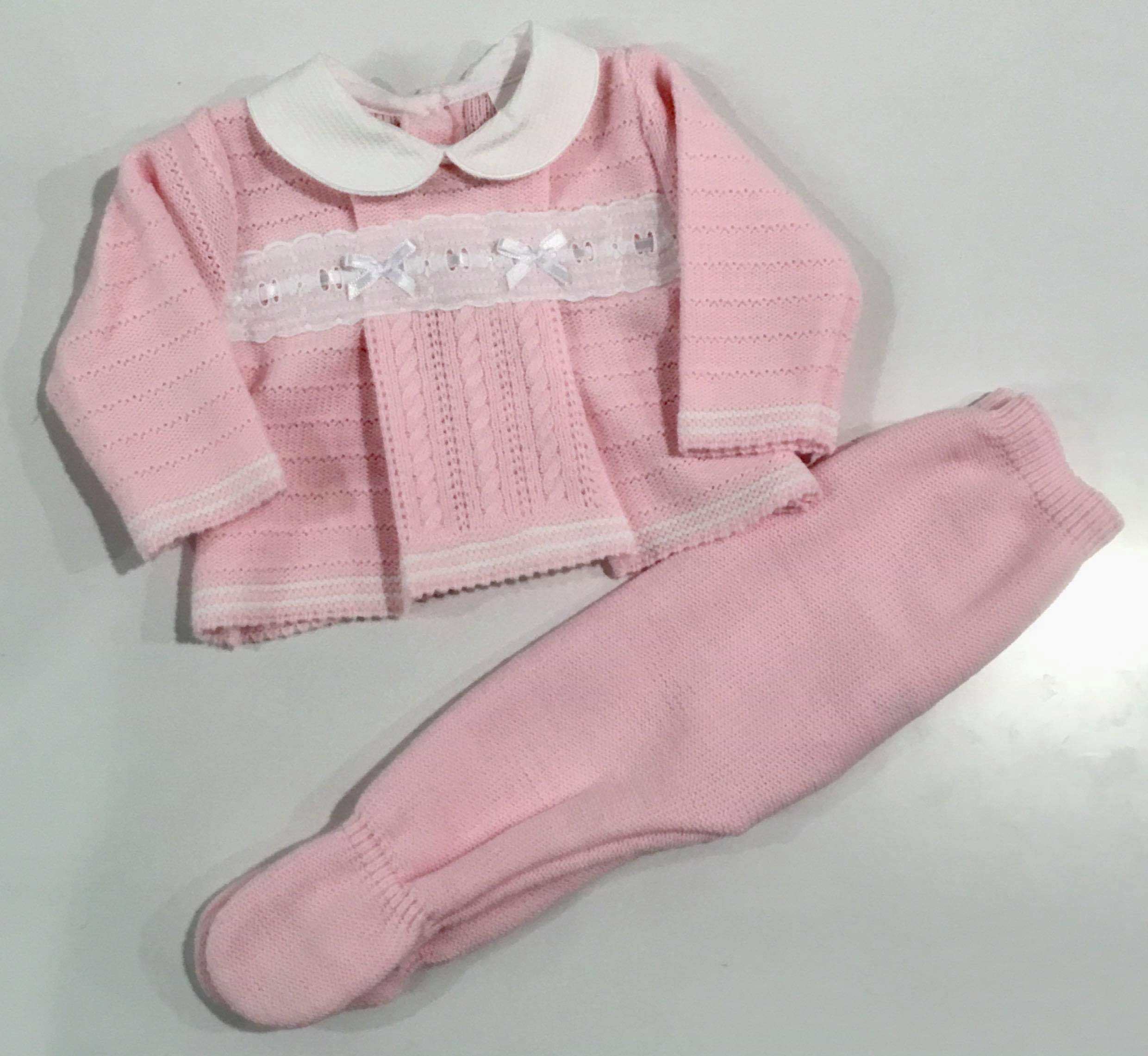 Charlie Knitted Pramsuit Set Pink