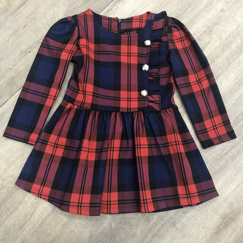 Navy Tartan Button Dress