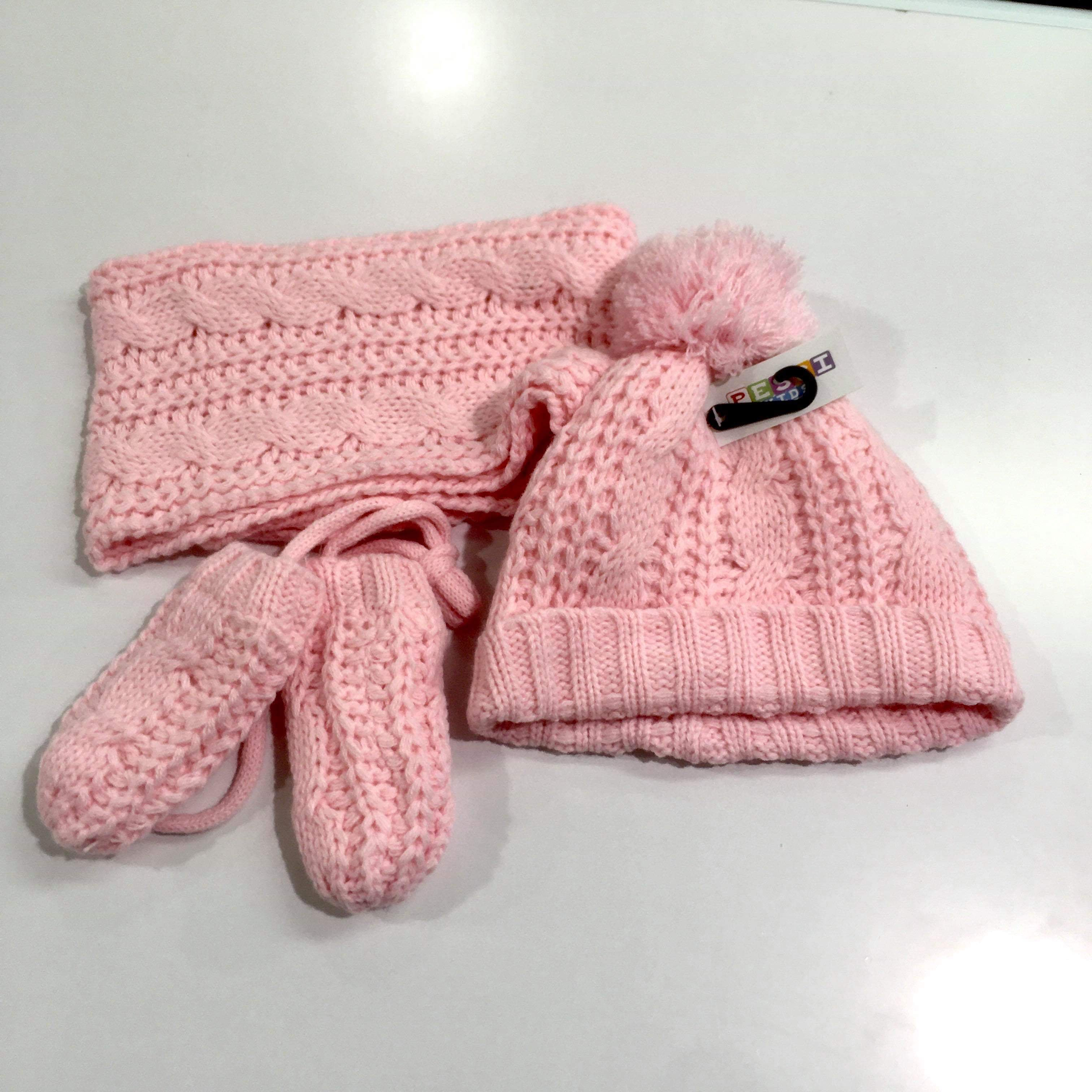 Winter Pink Hat Mittens and Scarf Set