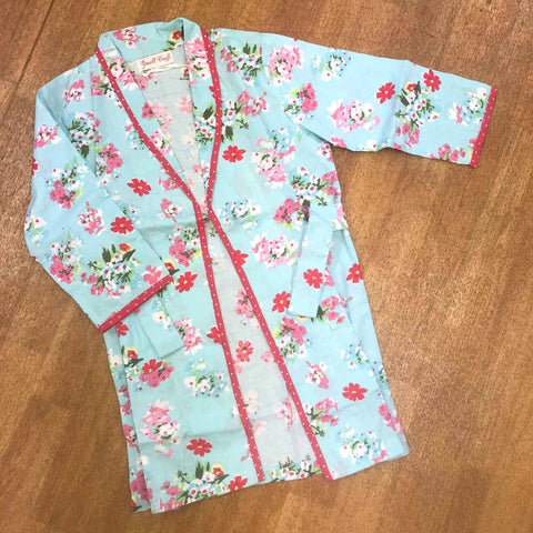 Powell Craft Floral Dressing Gown Blue