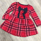 Red Checked Ruffle Dress With Bow