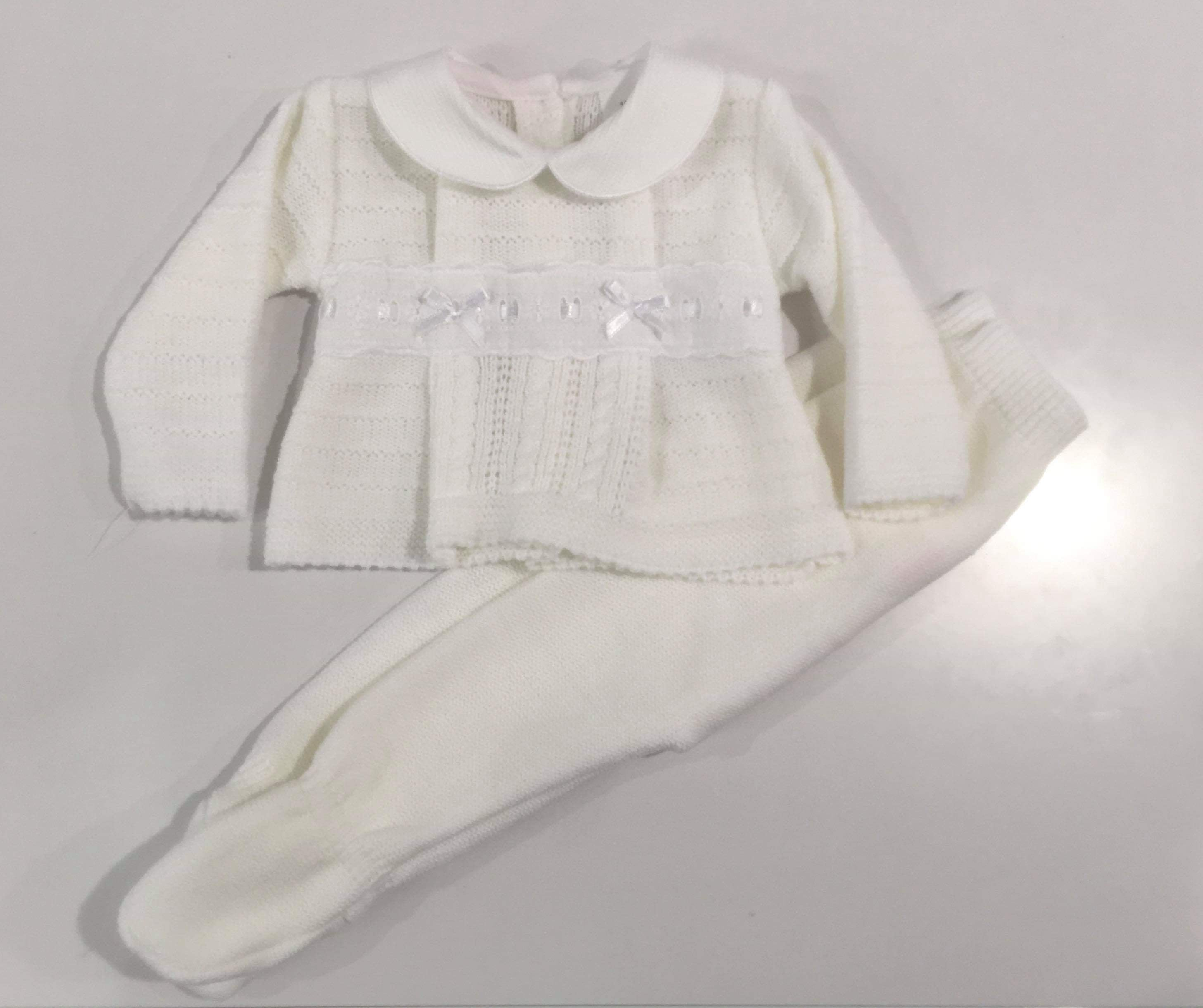 Charlie Knitted Pramsuit Set White