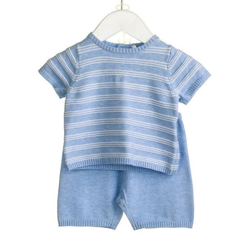 Blues Baby Striped Knitted Short Set