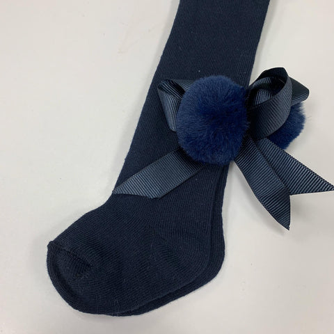 Beau Kid Navy Pom Bow Tights