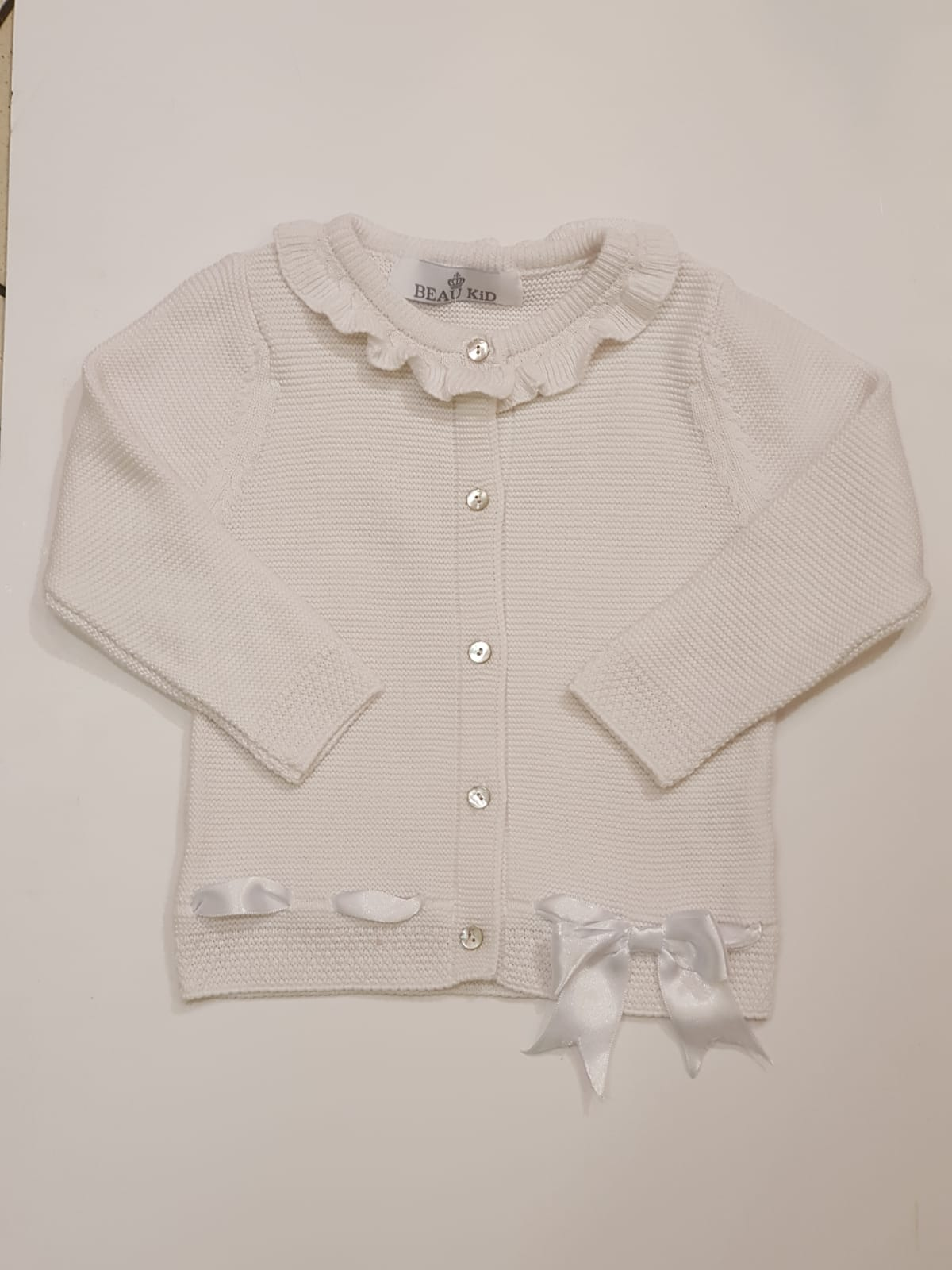 Beau Kid White Bow Cardigan