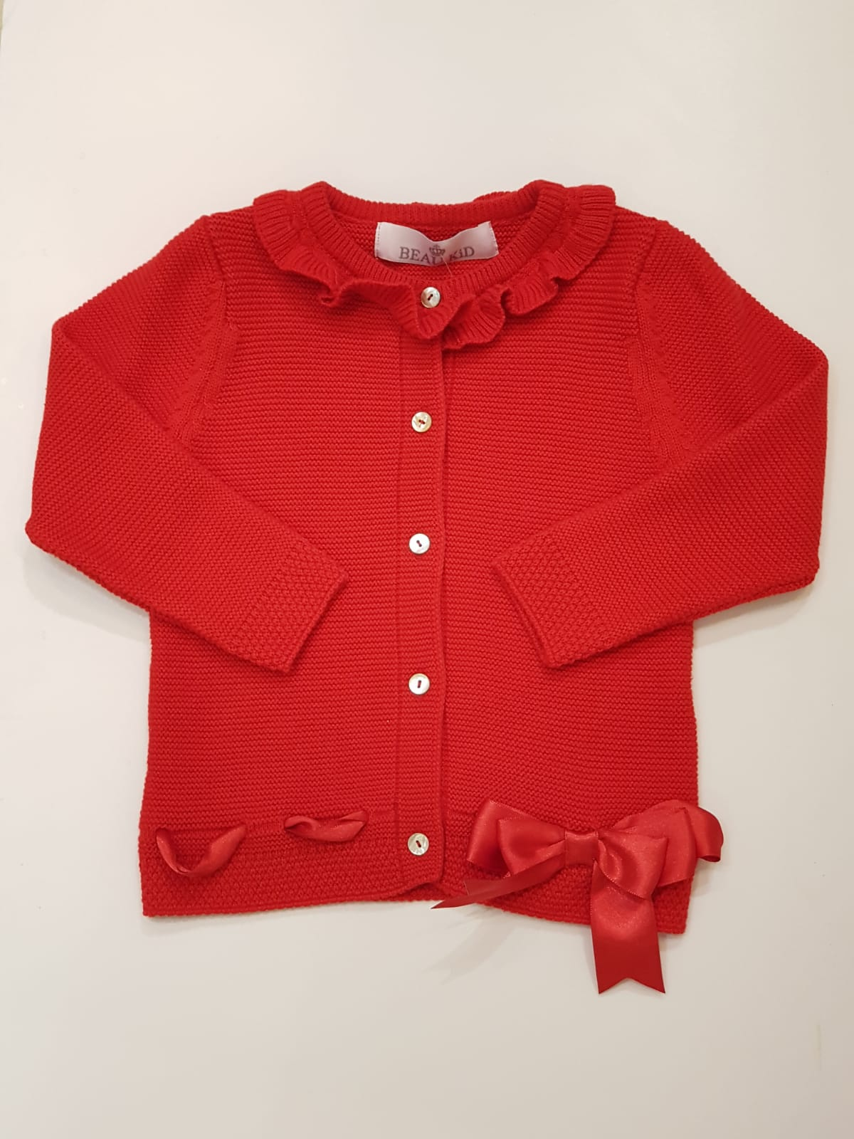 Beau Kid Red Bow Cardigan