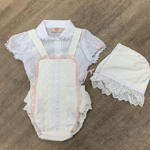 Caramelo Kids Cream Girls Bonnet Set