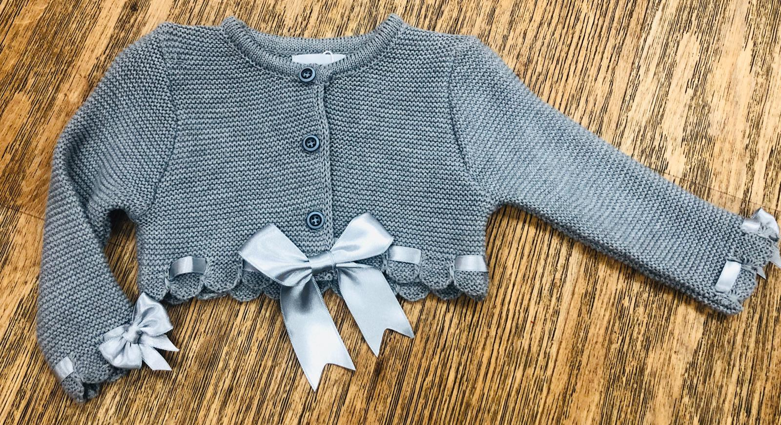 Couche Tot Grey Bolero Bow Cardigan