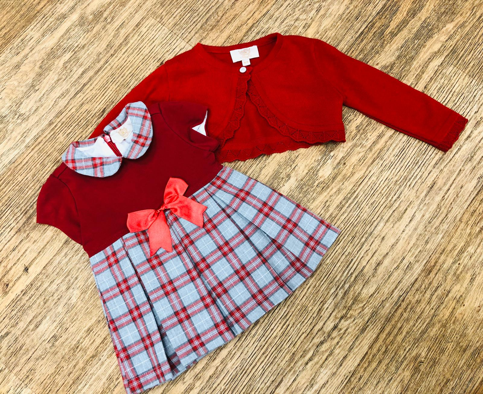 Caramelo Kids Check Dress and Cardigan Set
