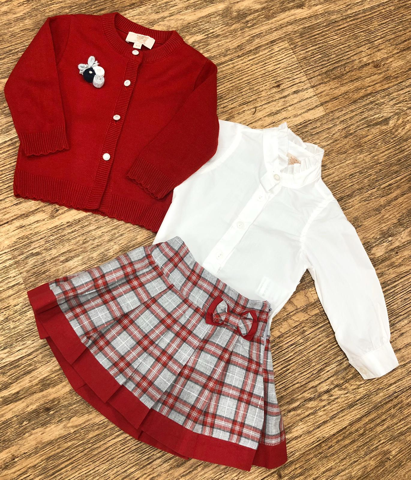 Caramelo Kids Check Skirt Set Red