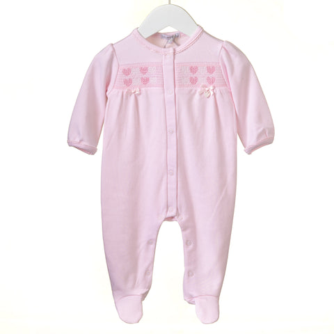 Blues Baby Cotton Heart Smocked Romper