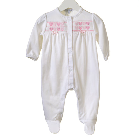 Blues Baby Cotton White Heart Smocked Romper