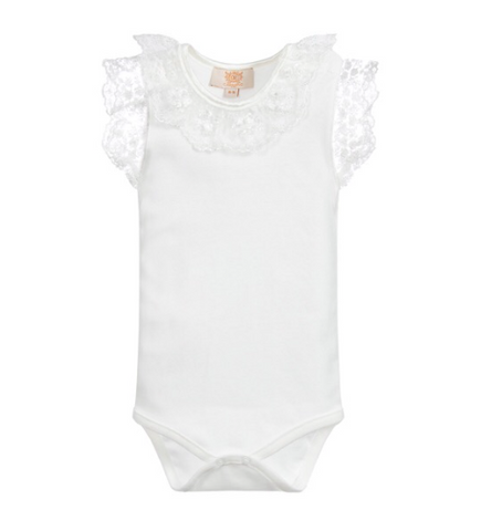 Lace Frill Body Suit Ivory
