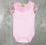 Lace Frill Body Suit Pink
