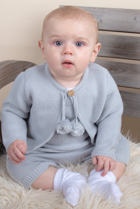 Caramelo Kids Grey Pom Pom Star and Cardigan Set