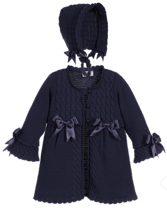 Caramelo Kids Navy Knitted Coat and Bonnet Set
