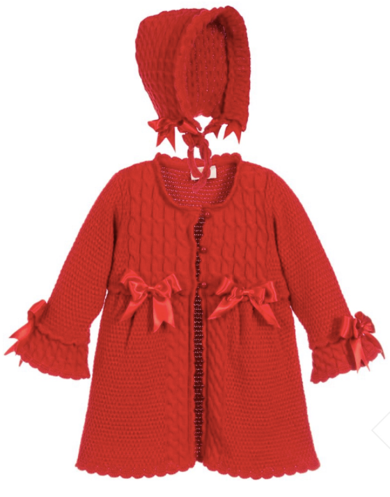 Caramelo Kids Red Knitted Coat and Bonnet Set
