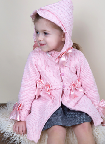 Caramelo Kids Pink Knitted Coat and Bonnet Set