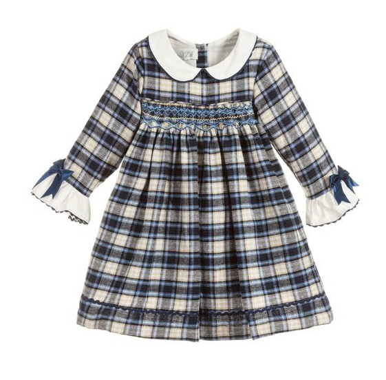 Beau Kid Navy Check Smock Dress