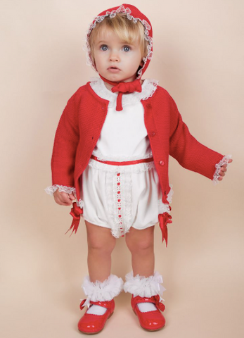 Caramelo Kids Red Bonnet Cardigan and Romper Set